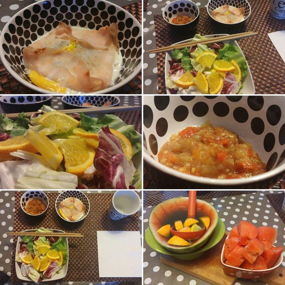 Cena da Grande Madre... #dinner #mum #egg #ham #watermelon #caponata #lightfood #dukan #diet #vividulight #quartafase #orange #healthy #fitness #weightloss #cucinadulight