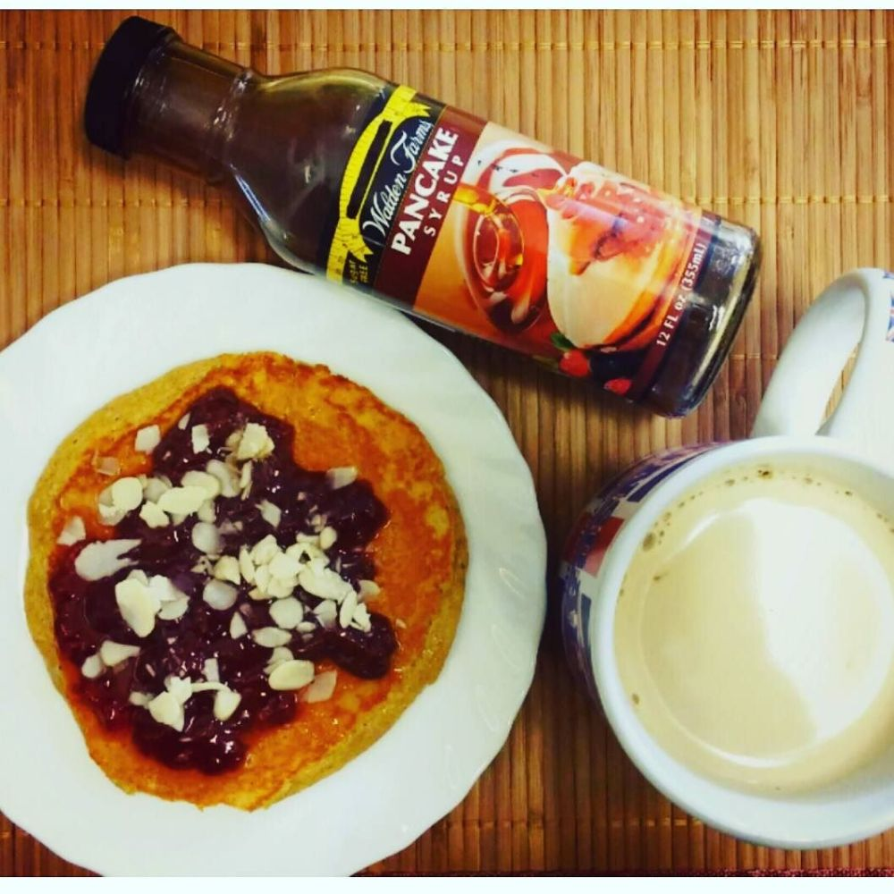 #dulight #cucinadulight #dukandiet #dukan #protein #pancake #strawberry #jam #almonds #waldenfarms #syrup #maple #healthy
