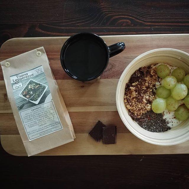 Colazione sprint prima della scuola!😴 Base di Skyr alla vaniglia, uva senza semi, pepite dulight sbriciolate, cioccolato fondente Wonka, semi di chia, tisana Leggerezza dulight. Buongiorno stelle del cielo, la Terra vi saluta!⭐⭐⭐ #wonka #breakfast #skyr #chocolate #grapes #tisana #chia #leggerezza #benessere #dukan #diet #dieta #healthyfood #ciboleggero #cibosano #quartafase #cucinaproteica #cucinadulight