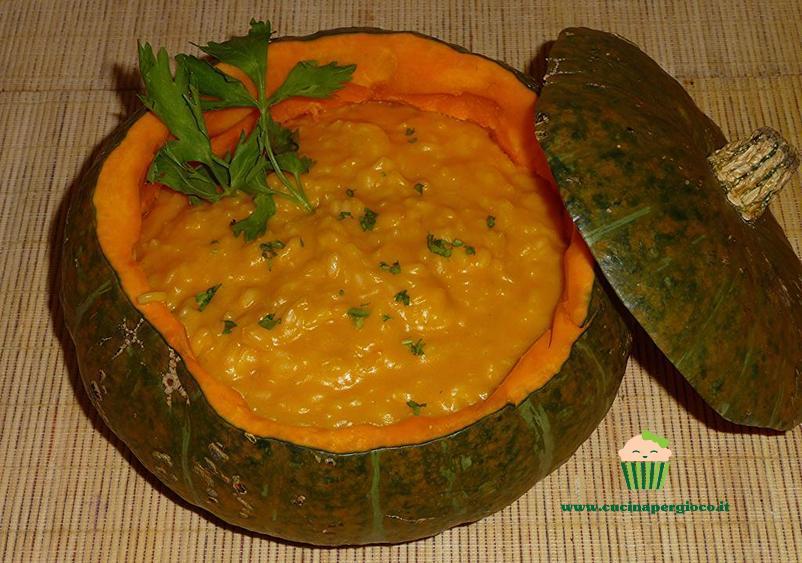 cucina per gioco riso con zucca e taleggio