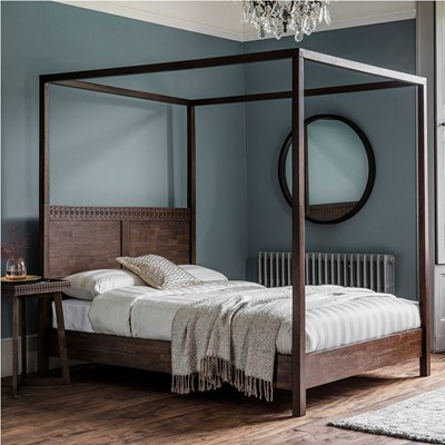 beatnik four poster bed in brown