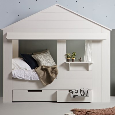 Kids House Cabin Bed In White Pine With Optional Storage Drawers Woood Cuckooland