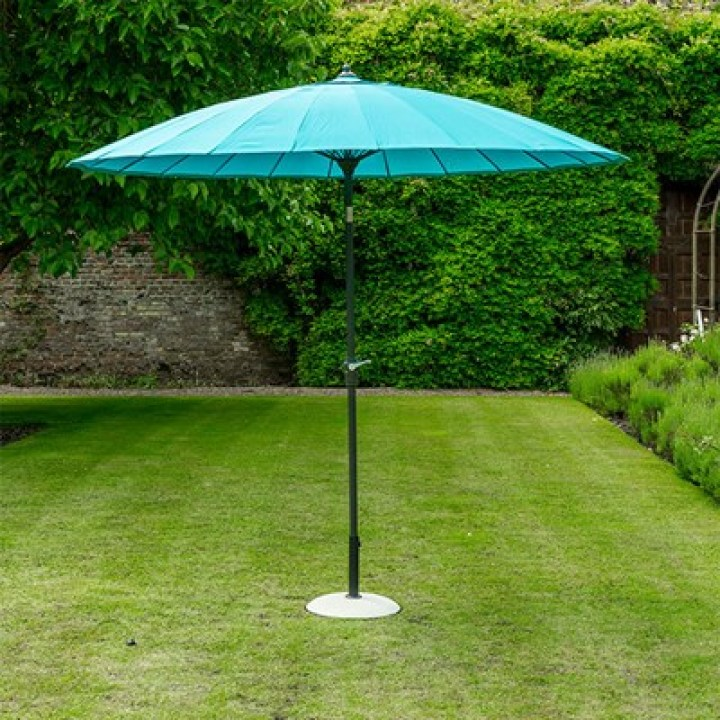 geisha garden parasol in aqua blue