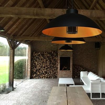 heatsail dome patio heater pendant light in black with 25 heat