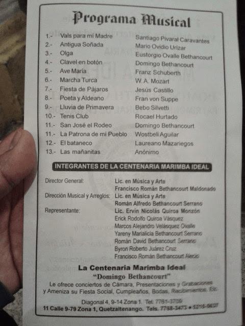 Programa musical del un Concierto dedicado a la Santísima Virgen del Rosario. Foto: Esvin López