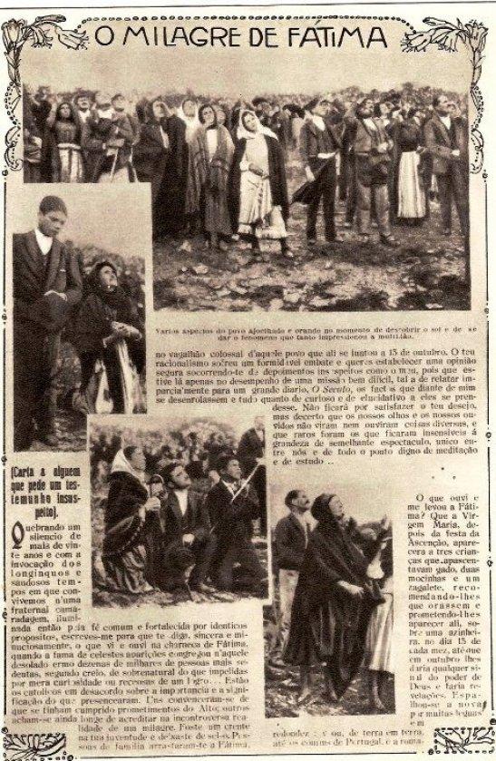 Noticia Publicada en un Diario de Portugal sobre el insólito momento del 'Baile del Sol' en la Sexta aparición de la virgen de Fátima