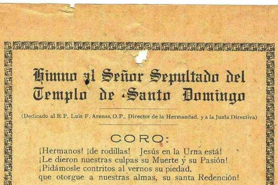 Letra del himno al Señor Sepultado de Santo Domingo de la Hermandad