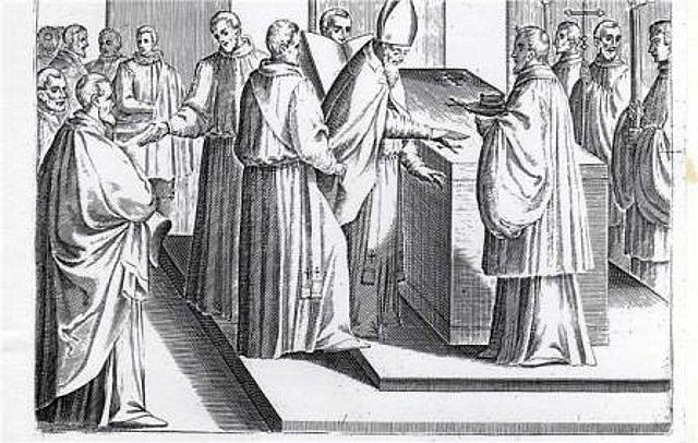 Imagen 15, se traza 5 cruces con el Santo Crisma y 5 conel oleo de los catecúmenos.