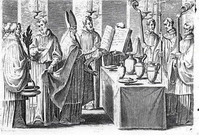 Imagen 8, se bendice el agua gregoriana.