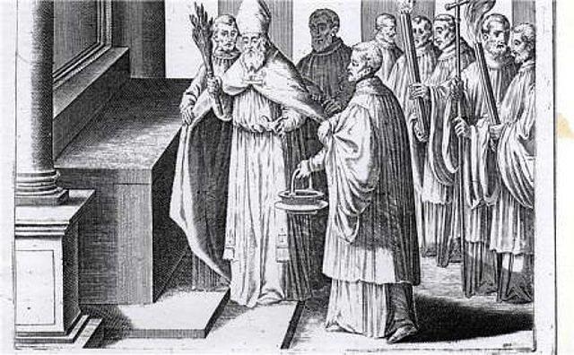 Imagen 9, se marcan 5 cruces en el altar, asperción séptuple