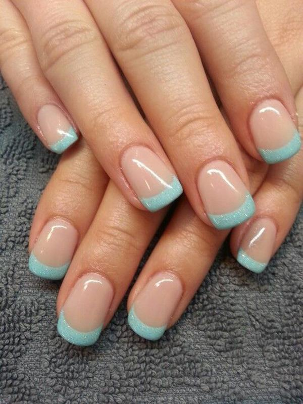 Baby Blue And Glitter Inspired French Manicure The Nails Use A Clear Polish As