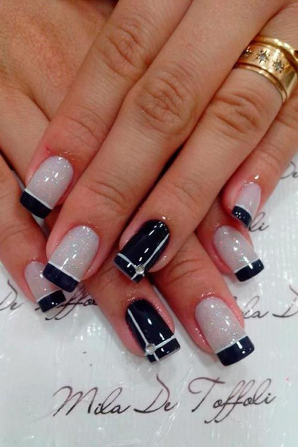 Cute Acrylic French Tip Nail Design