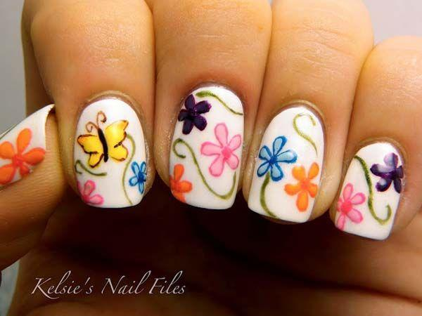 Pretty Erflies And Colorful Flowers This Is What Nail Art Fashion Tells You
