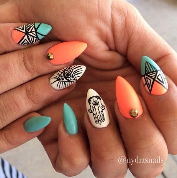 Be Bold And Creative With This Tribal Inspired Sti Nails Coated Blue Orange