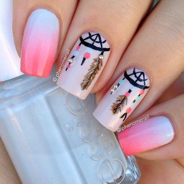 Light Grant Nail Art Design In Blue White And Pink Bo With Intricate Details
