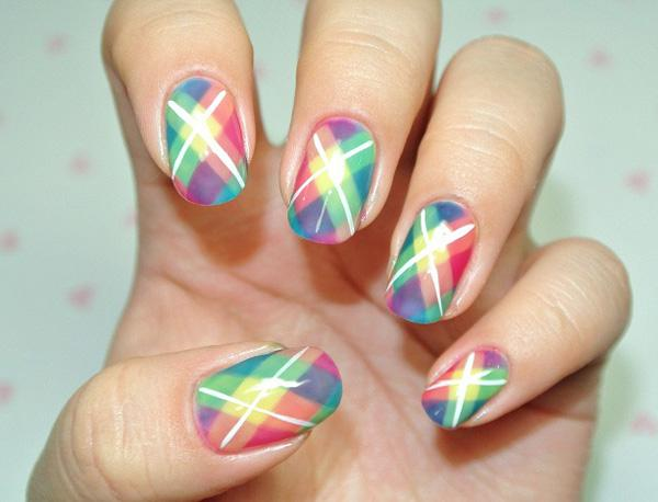 Multi Colored Plaid Nail Art Design The Uses A Variety Of Bright Colors Such