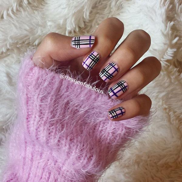 A Cute Looking Purple Inspired Plaid Nail Art Design This Uses Colors Such As