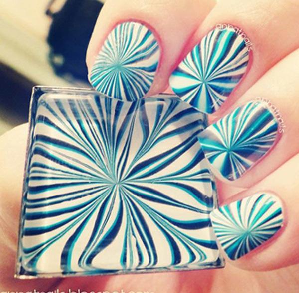 Blue Water Marble Nail Art Design Idea