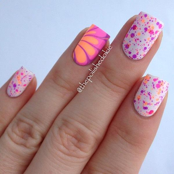 Pink Water Marble Nail Design