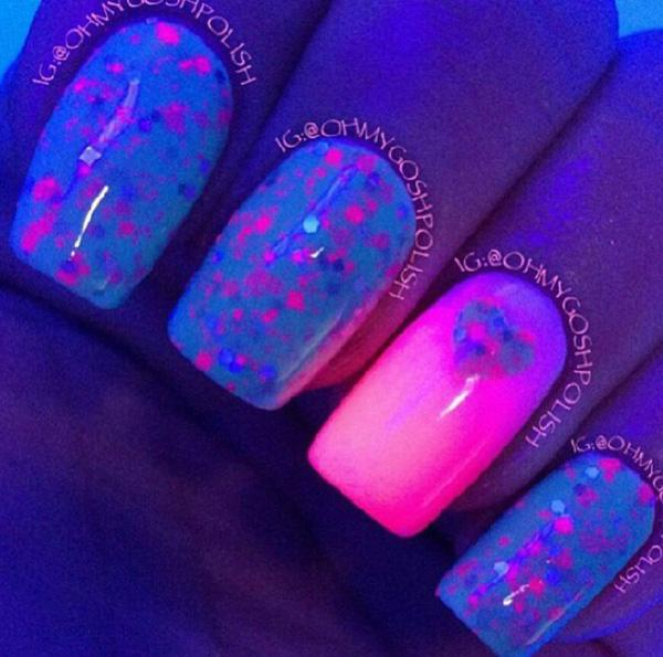 Fill Your Glow In The Dark Nail Polish With Adorable Little Be And Hearts
