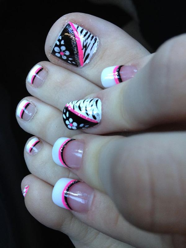 60 Stylish Black And White Nail Art Designs For Toe Nails French Tip
