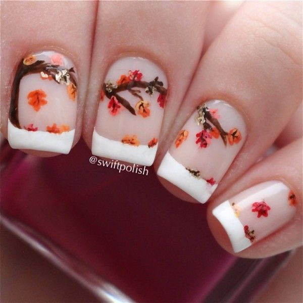 A Wonderful French Tip Consisting Of Tree Branches And Falling Leaves Perfect For The Fall Season