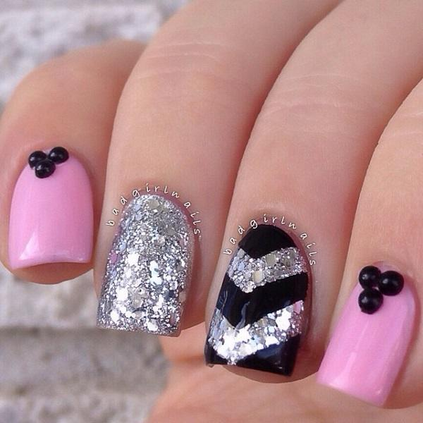 An Adorable Looking Glitter Nail Art Design In Silver Pink Matte Polish And Black