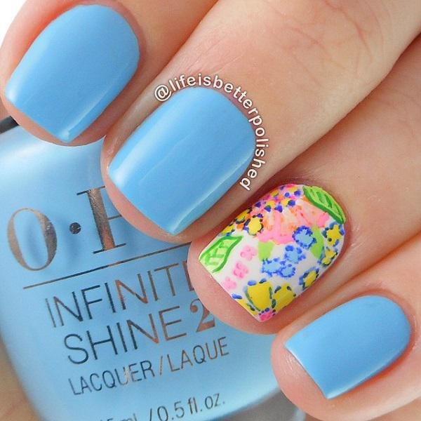 Perfect Blue Themed Nail Art Design For Short Nails Baby And White Polish Are
