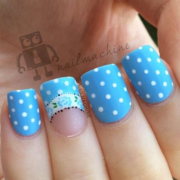 Source Light Blue Nail Art With Glitter