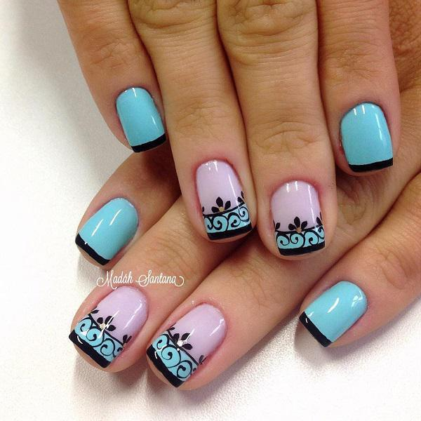 This Is A Very Pretty Blue Polka Dot Nail Art Design Have Adorable Nails With