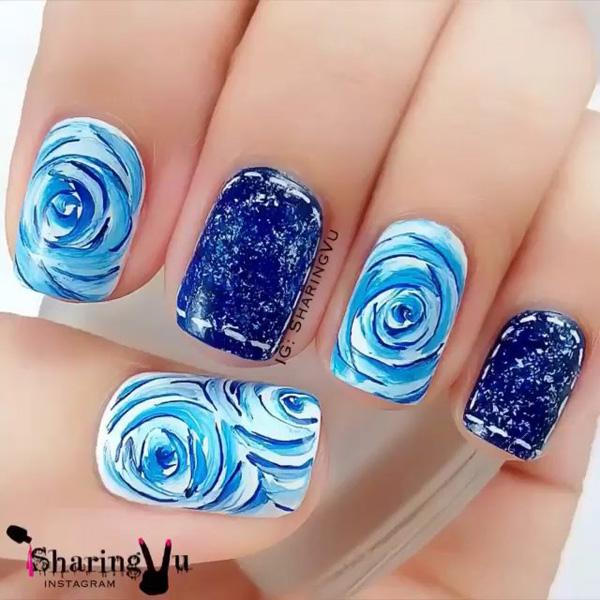 Blue Fl Nail Art Design This Pretty Little Sports A And