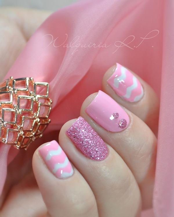 A Wonderful Looking Pink Nail Art Design Using White As Base Coat Lovely Details