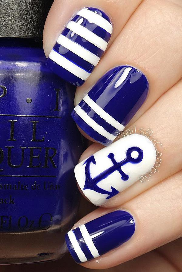 Conquer The Anchors With This Blue And White Nail Art Design