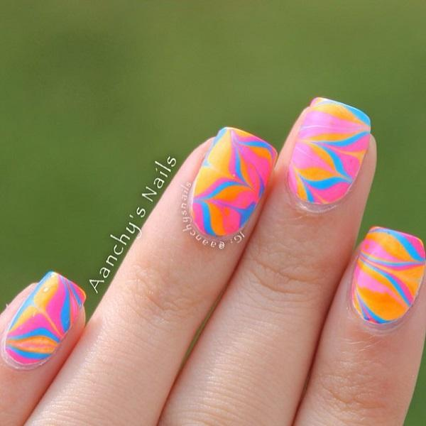 Colorful Pink Abstract Nail Art Design This Polish Also Makes Use Of The