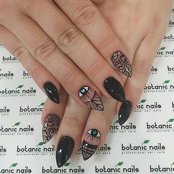 Black And Clear Polishes Nail Art Design With Eye Details Make Your Tribal Inspired