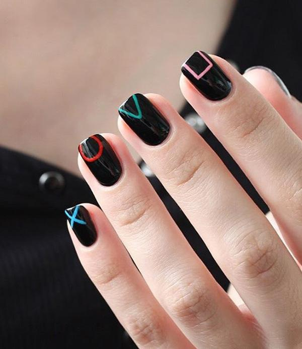 Playstation Controller Inspired Black Nail Art Design Perfect For Short Nails As