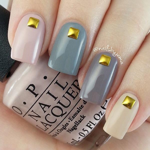 Multi Colored Matte And Gold Beaded Winter Nail Art