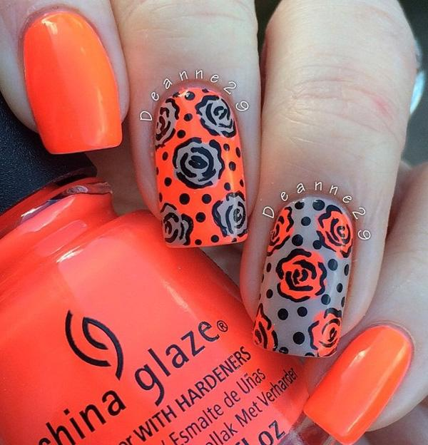 Bright And Bold Colors Of Orange Gray Makes A Perfect Bination For Your Winter Nail