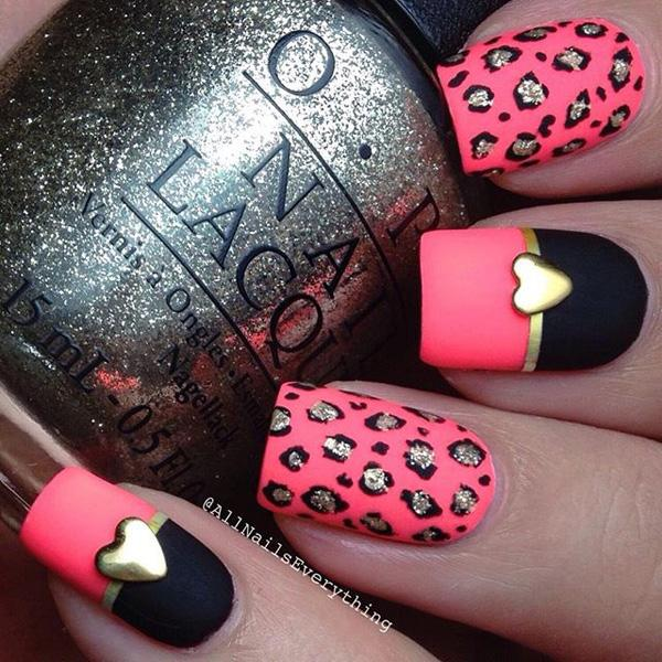 16 Easy To Do Cute Heart Nail Designs Red And Black Nails