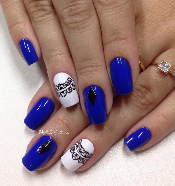 Royal Blue And White Winter Nail Art Design Paint On Adorable Lace Details With Black