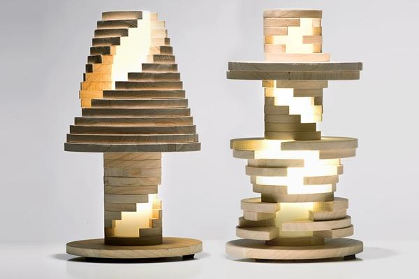 Staircase inspired lamp. Designed to mimic a staircase going up a lighted stairway.