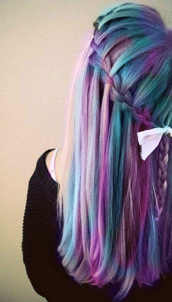 30 Hot dyed hair Ideas   Art and Design Waterfall braids look 10000x cooler dyed with Manic Panic   30 Hot dyed hair  Ideas