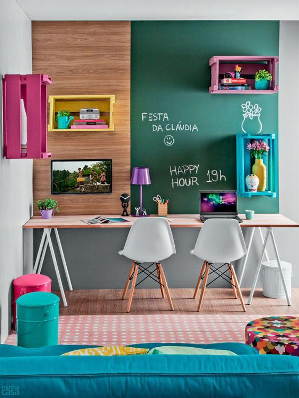 Don't be afraid to experiment in colors. Even if your room looks like a Kindergarten classroom, who cares? If it makes you happy and can help you relax while working, go for it!