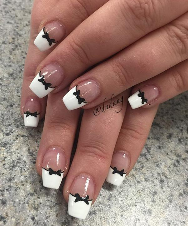 White French Tip With Yellow Flower Nail Art