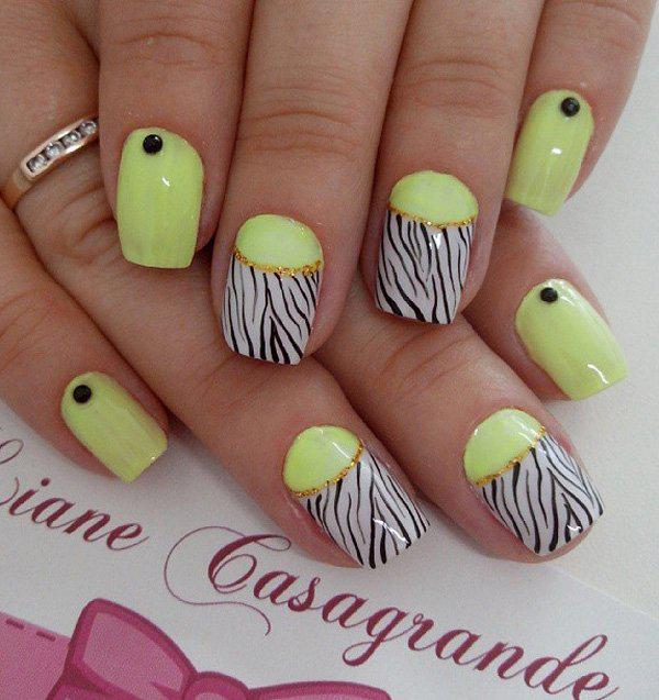 If you think a neon yellow nail polish is not working, why not add some animal prints? The design is bound to make you stand out. But remember not to overdo it.