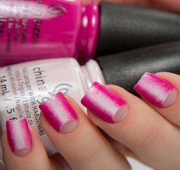 This beautiful pink themed nail art design uses a darker pink and a lighter one. It's like a rough ombre with the lighter pink on the middle. And of course, the half moon would give the whole look more edge.