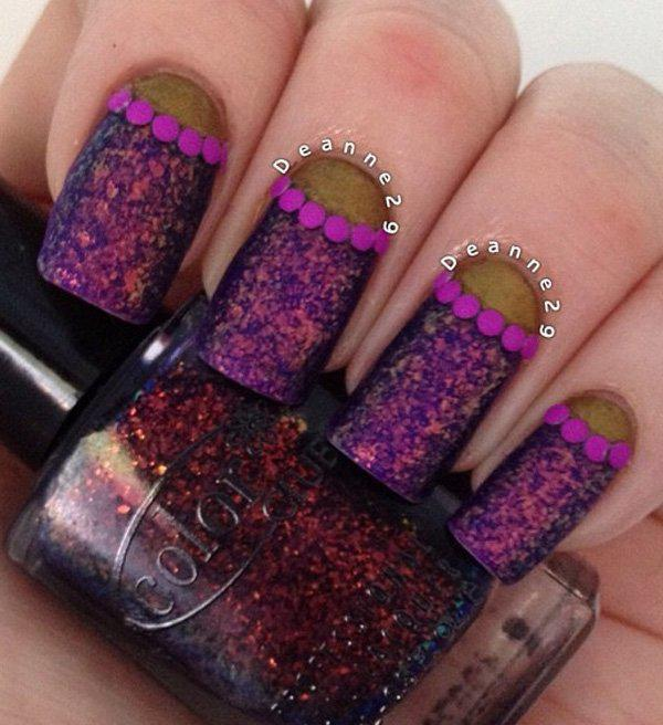 This one may look dark. But it's a fun design, still. It's a pink nail polish with lots of violet glitters. The half moon is a gold metallic nail polish and in between are violet dots.
