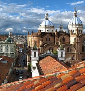 Cuenca's cathedral from an El Centro rooftop.