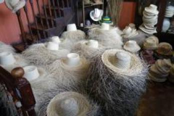 Hand woven hats at La PaJa Touquilla. One of these is my size.