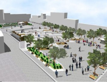 An architectural drawing of the proposed plaza that was rejected.